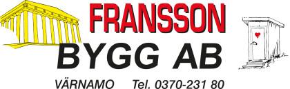 Snickare Värnamo, Fransson Bygg Hantverkare, Nybyggnation & Renovering byta fönster Logotyp